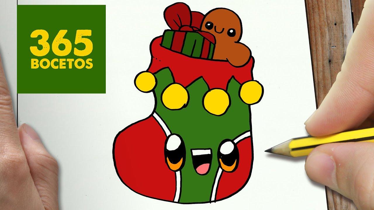 Como dibujar un calcetin para navidad paso a paso dibujos - Dibujos de navidad faciles ...