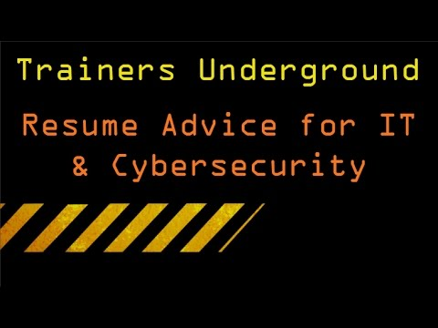 TU Resume Advice for IT  Cybersecurity - YouTube - resume advice