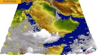 حركة السحب على الجزيرة العربية (3D) من (20 إلى31يوليو(7)2020)