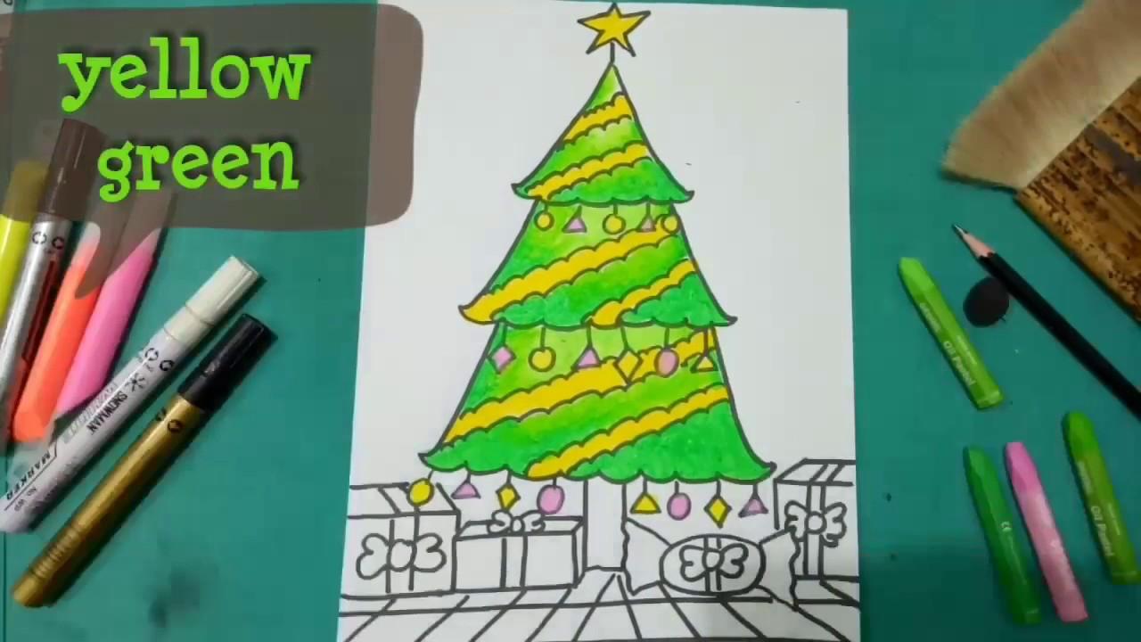 How To Draw And Colouring Christmas Tree Cara Menggambar Dan
