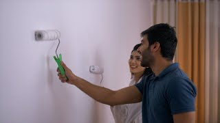 Indian couple - Husband Wife Duo painting their house walls after home relocation