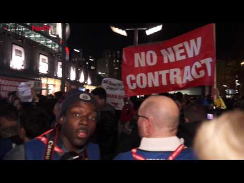 SCENES!!! Arsenal Fans Protesting At The Emirates About Arsene Wenger & The Board