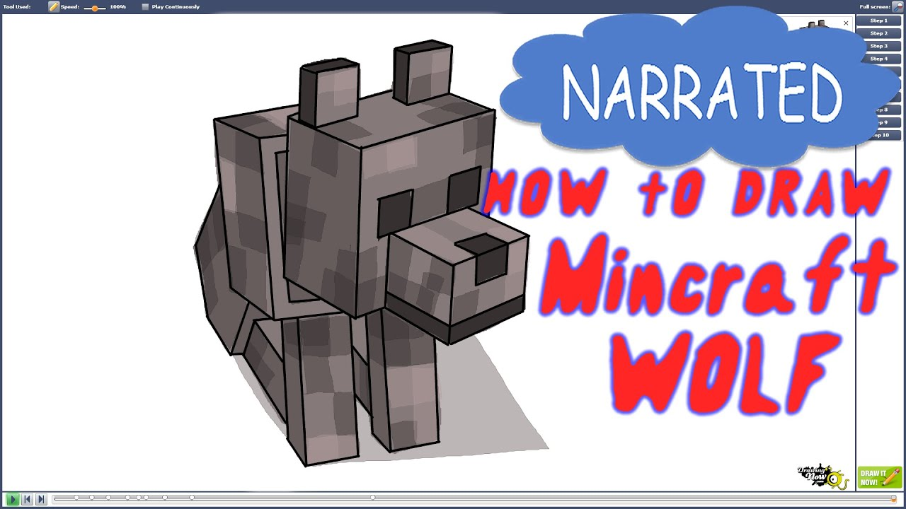 how to draw a minecraft wolf narrated youtube