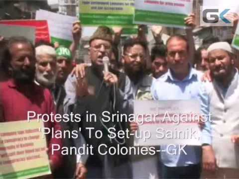 Protests In Srinagar Against Alleged Govt Plans To Build Sainik, Pandit Colonies
