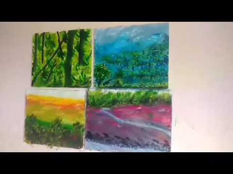 Talent art, Amazing finger painting FOUR at one time, oil paintings, natural art(power of our mind)