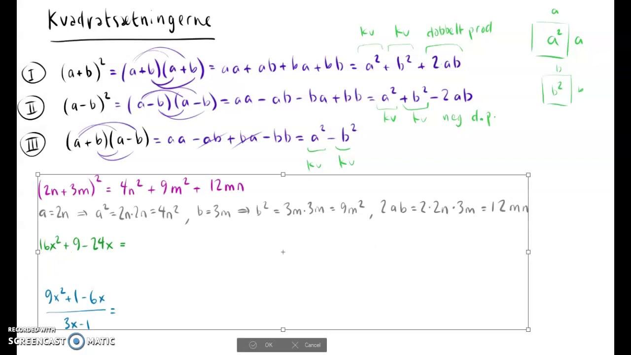 Kvadratsætningerne - eksempelberegninger