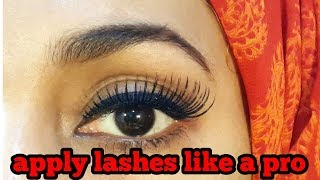 HOW TO APPLY FALSE LASHESH FOR BEGGINERS//EASIEST WAY//URDU/HINDI