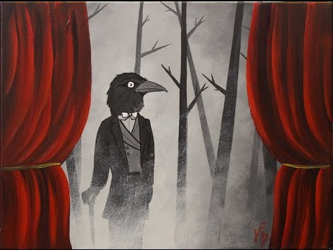 Presenting Mr. Crow Step by Step Acrylic Painting on Canvas for Beginners