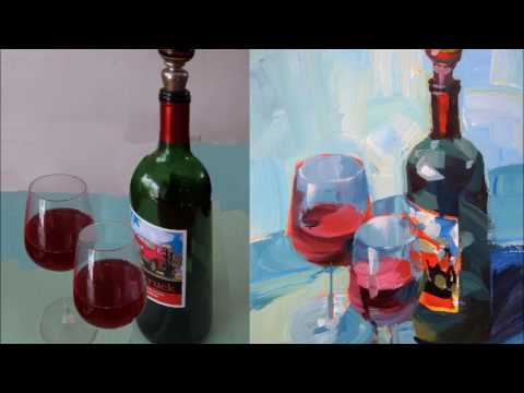 Expressive Acrylic Painting with Patti Mollica - Lesson 1, Wine Bottle Demo