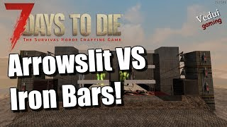 Traps behind Arrowslit vs Iron Bars    7 Days to Die   Alpha 16 Gameplay