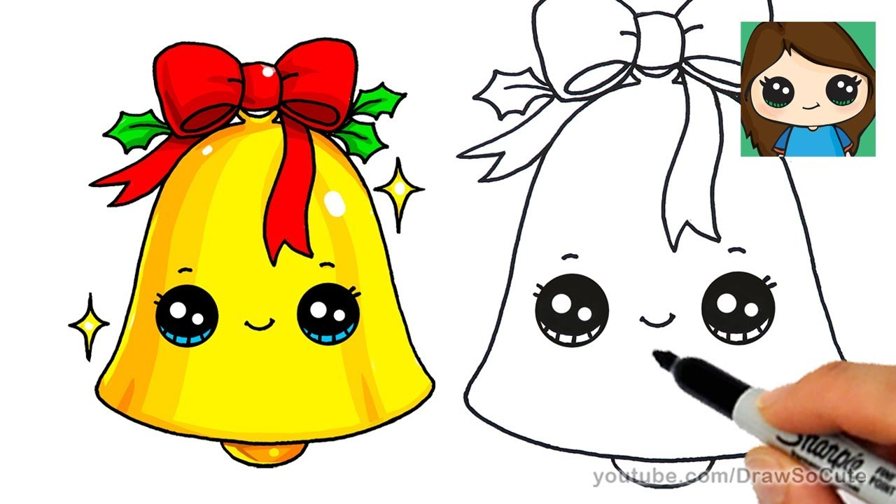 How To Draw A Christmas Bell Easy And Cute Cute Easy Drawings Easy Drawings Cute Drawings