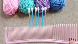 Amazing Woolen Embroidery Trick with Cotton Buds - Hand Embroidery Design Ideas - Easy Wool Making