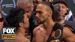 Manny Pacquiao and Keith Thurman face off before their massive title fight | WEIGH-INS | PBC ON FOX