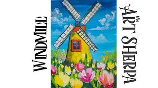 How to paint with Acrylic on Canvas Windmill Tulips
