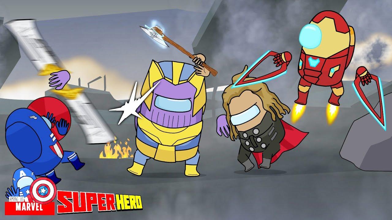 Among Us Avengers: Endgame - Scene Battle Thanos Vs Captain, Iron Man, Thor - Among Us Marvel
