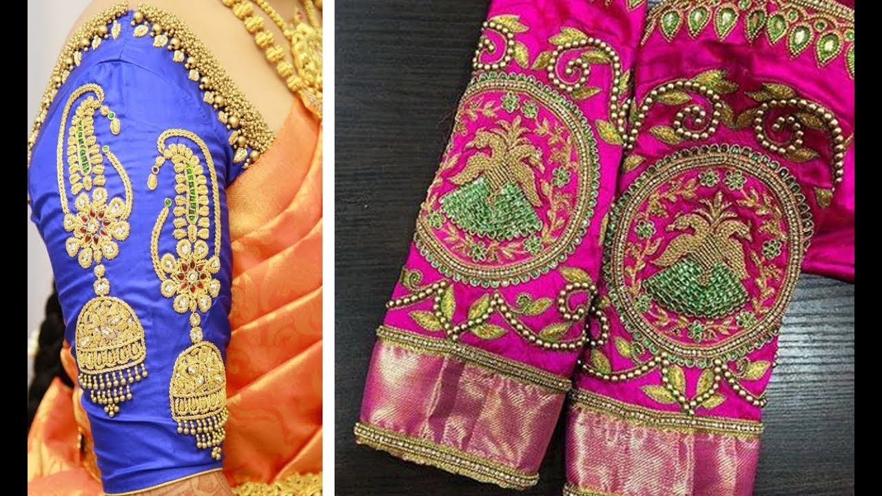 da05c61668a13 Very Attractive Embroidery Work Blouse Sleeve Designs For Silk Saree ...
