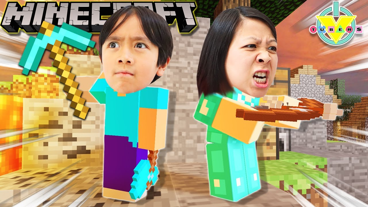 Mommy Plays Minecraft For The First Time And Wins! Let's Play Minecraft Ryan Vs Mommy