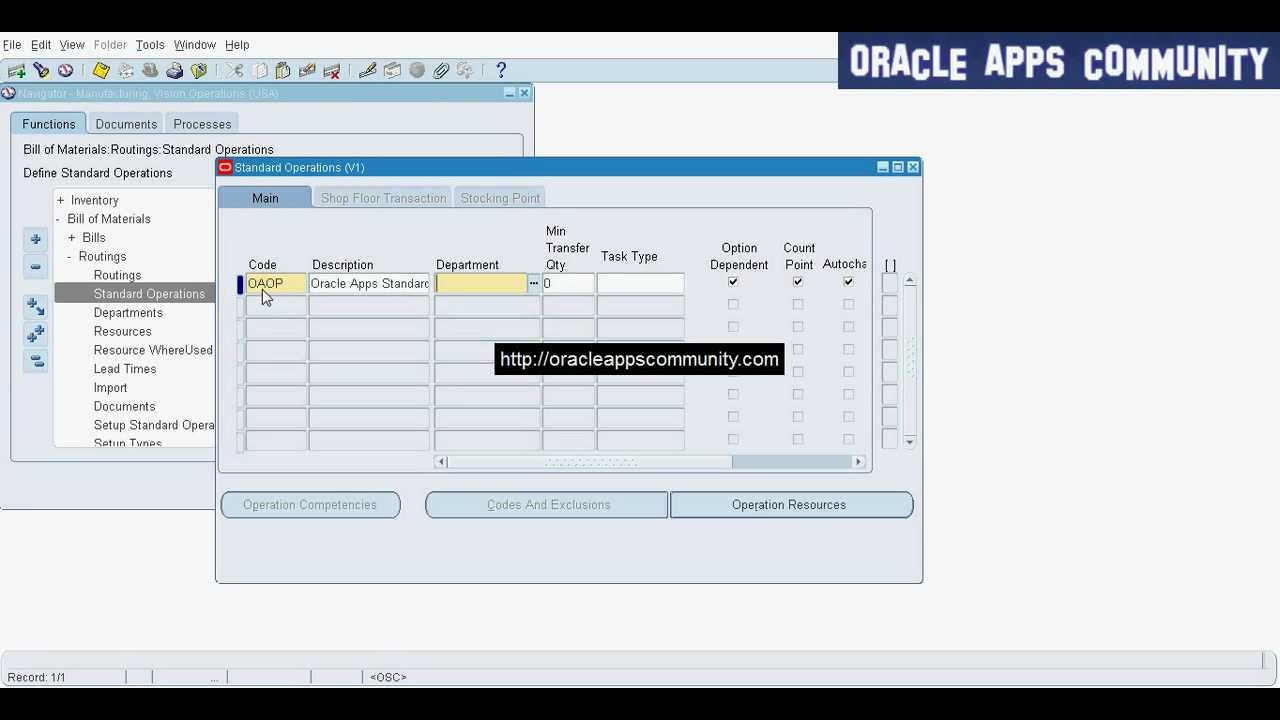 setup standard operations oracle bill of material youtube