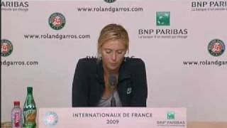 Maria Sharapova Interview - French Open 2009 Day 2