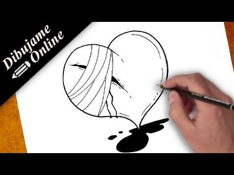 como dibujar un corazon roto | como dibujar un corazon roto paso a paso