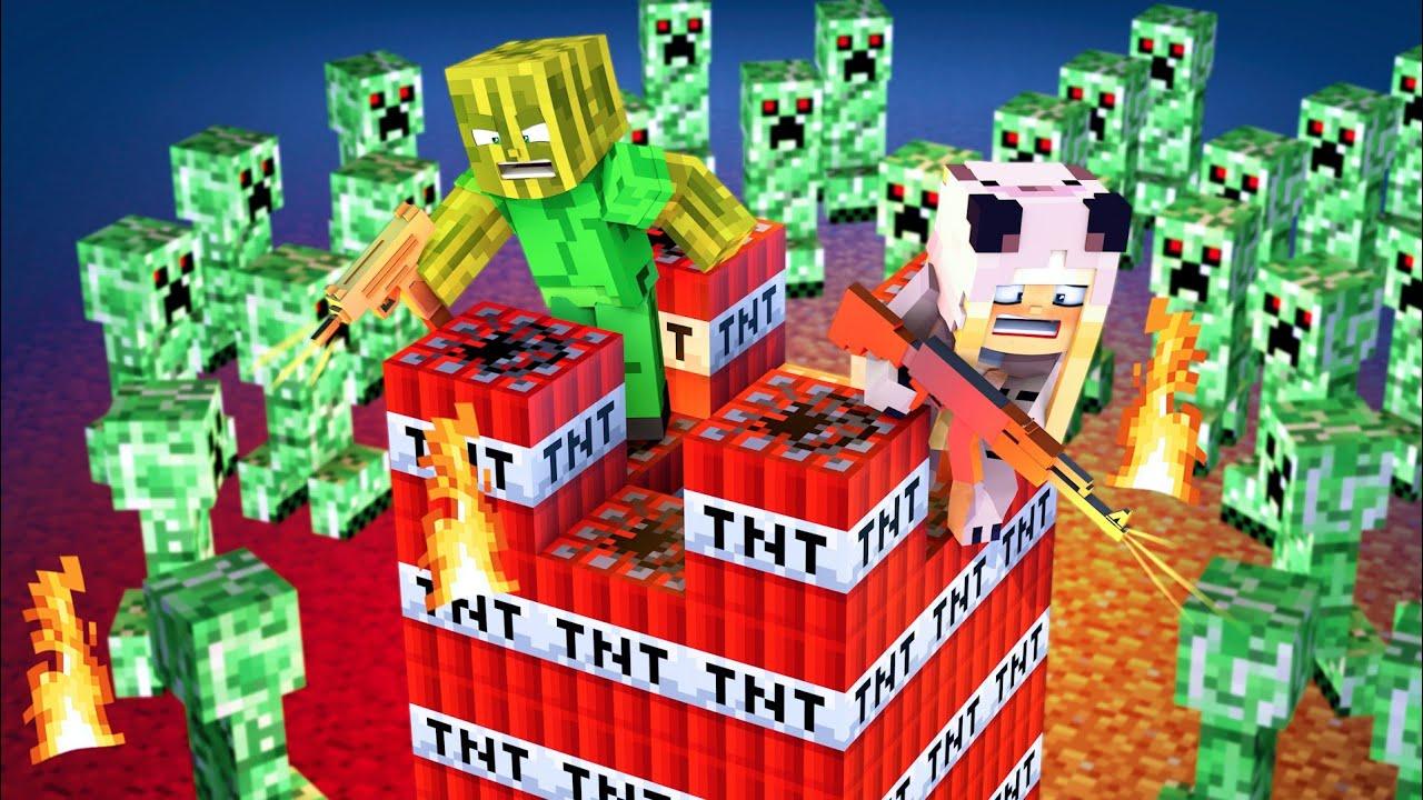Minecraft GIRL vs CREEPER! - YouTube