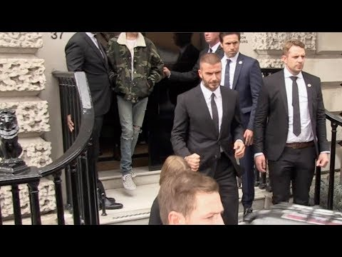The Beckham family leaving Victoria Beckham first ever fashion  in London