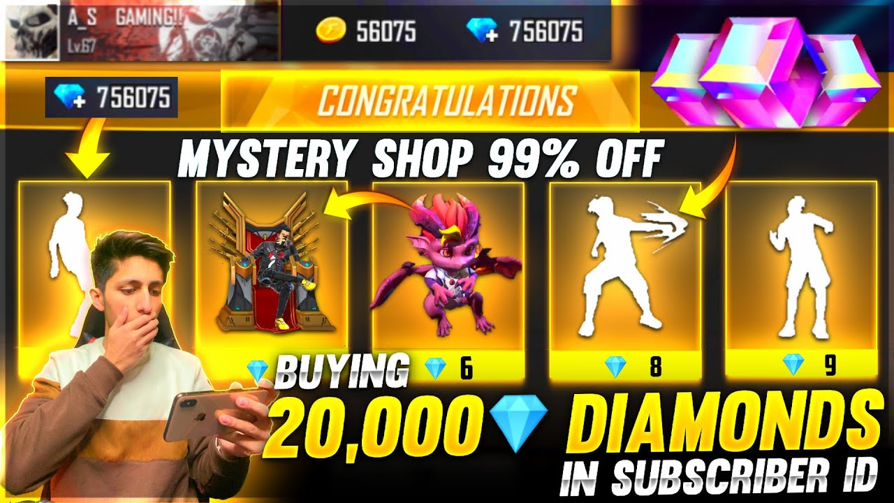 Buying 20,000 Diamonds Dj Alok & All Emote From Mystery shop In Subscriber Id - Garena Free Fire