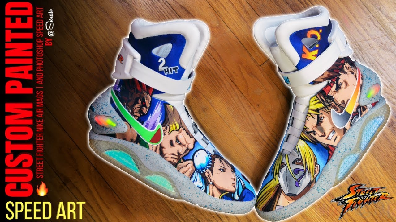 best loved 35dfc 2011f Full Custom Street Fighter Nike Air Mags w  Photoshop Speed Art by Sierato