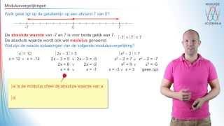 Modulus - modulusvergelijkingen - WiskundeAcademie Video