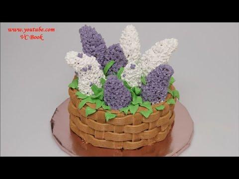 Торт Корзина с сиренью | Торт с белковым заварным кремом | Украшение тортов