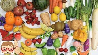木のおままごとセットと本物の野菜と果物を切る!おもちゃでリアルなやさいの名前をおぼえよう!にーさら 20sarasa