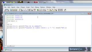 Borland C++, Utilización de las funciones Switch y Case (Ejercicio sobre los días de la semana)