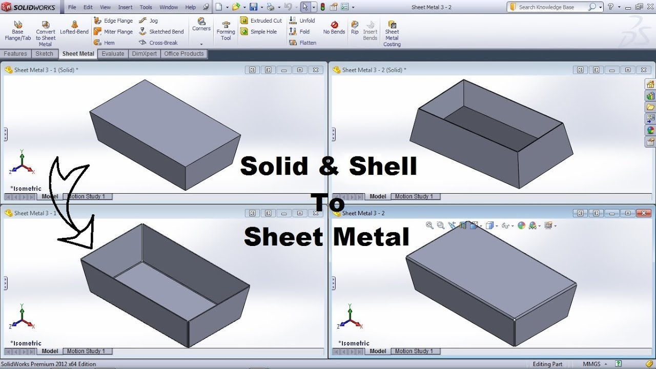 Solidworks Solid To Sheet Metal Tutorial Convert To