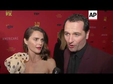 On 'Americans' red carpet, Keri Russell, Matthew Rhys talk real-life relationship; Russia spy crisis