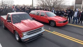 Photo Finish & A Wreck.... Nitrous S10 VS Big Red Turbo Wagon Race