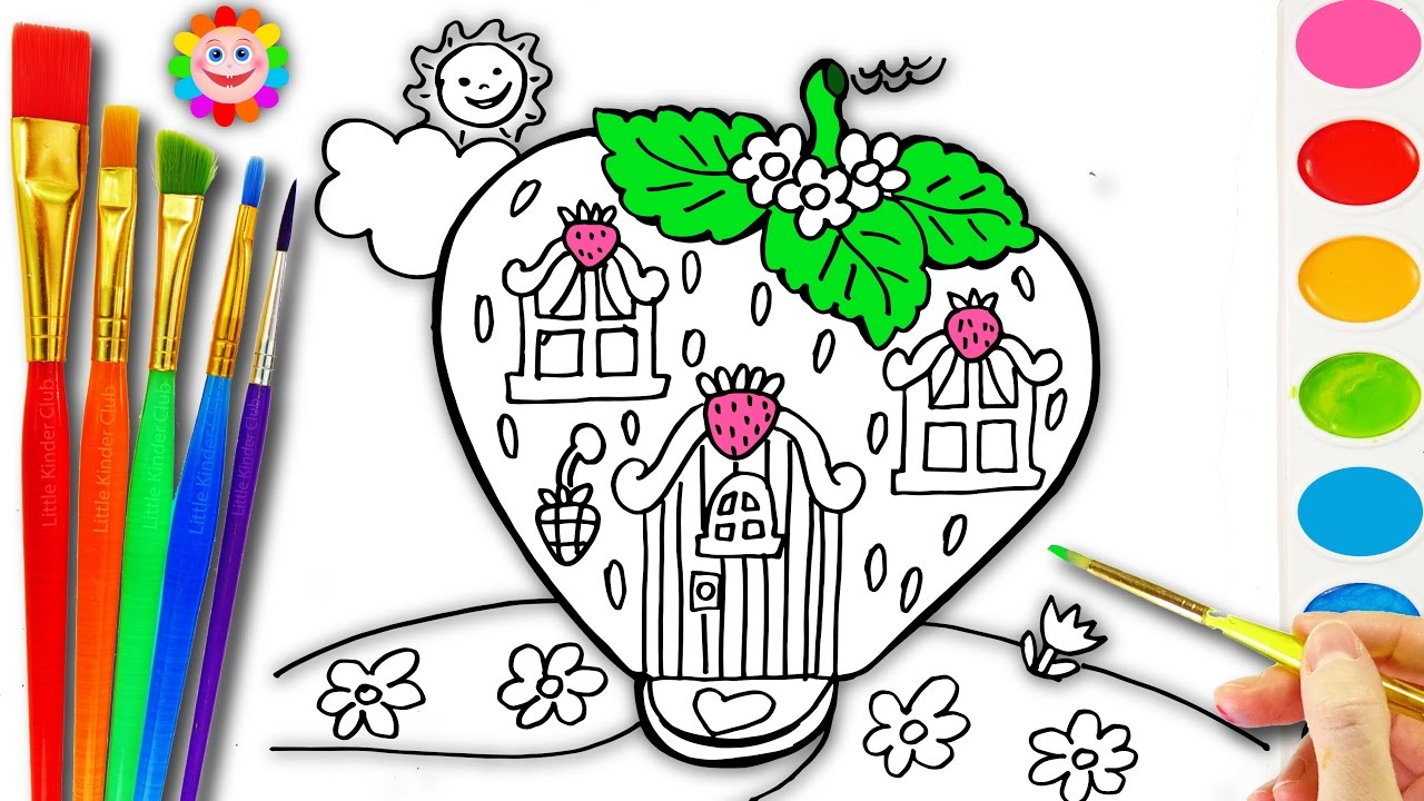 Strawberry coloring pages for kids drawing colouring a house house coloring book