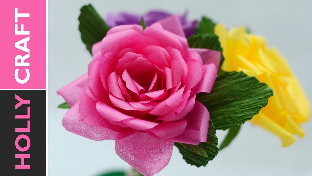Tissue paper flowers how to realistic roses youtube tissue paper flowers how to realistic roses mightylinksfo