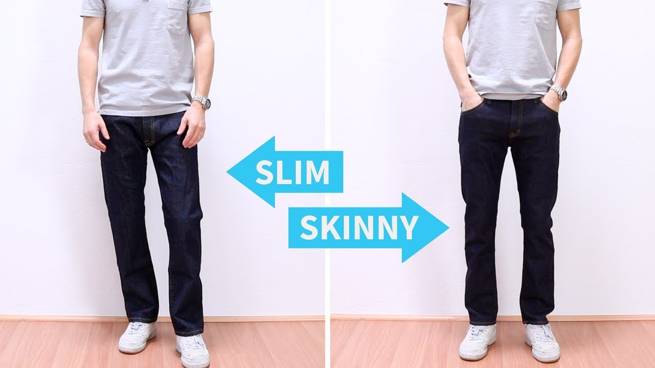 Slim-fit pants or skinny jeans (when made of denim) have a snug fit through the legs and end in a small leg opening that can be anywhere from 9
