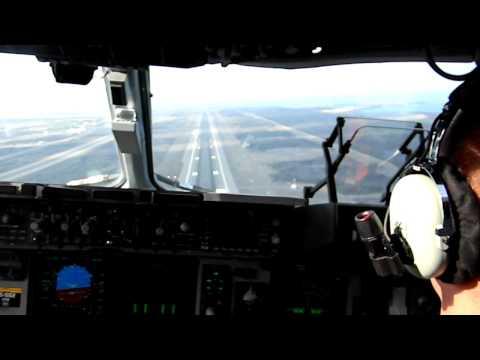 Landing a C-17 Military Transport Jet in Kona Hawaii