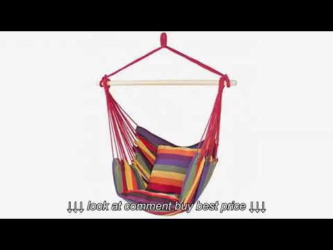 EverKing Hanging Rope Hammock Chair Porch Swing Seat, Large Hammock Net  Chair Sw