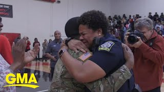 Army son surprises mom at high school pep rally after 2 years deployed | GMA Digital