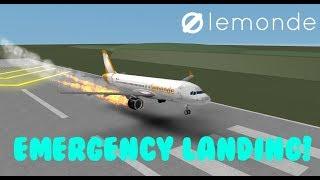 ROBLOX LeMonde airlines EMERGENCY LANDING (training Flight)