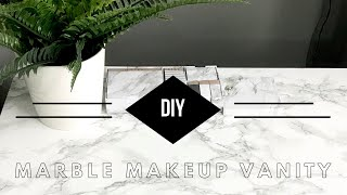 DIY MARBLE MAKEUP VANITY | Beauty Room Tour Series Pt. 1