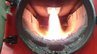 Как горит пиролизный котел отопления на твердом топливе Анкод, видео обзор