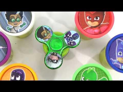 Pj Masks Play Doh Fidget Spinners Game with Catboy, Owlette & Gekko