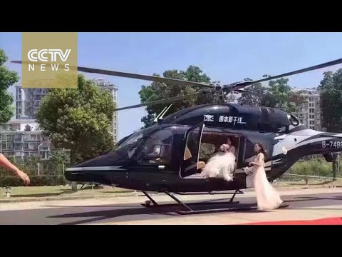 Helicopter wedding leads to traffic jam