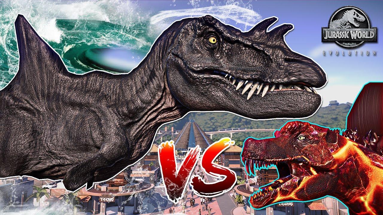 MEGALODON TREX vs Green Godzilla & Mosasaurus, Burning ...