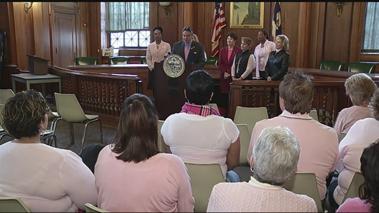 Springfield City Hall employees wearing pink for breast cancer awareness
