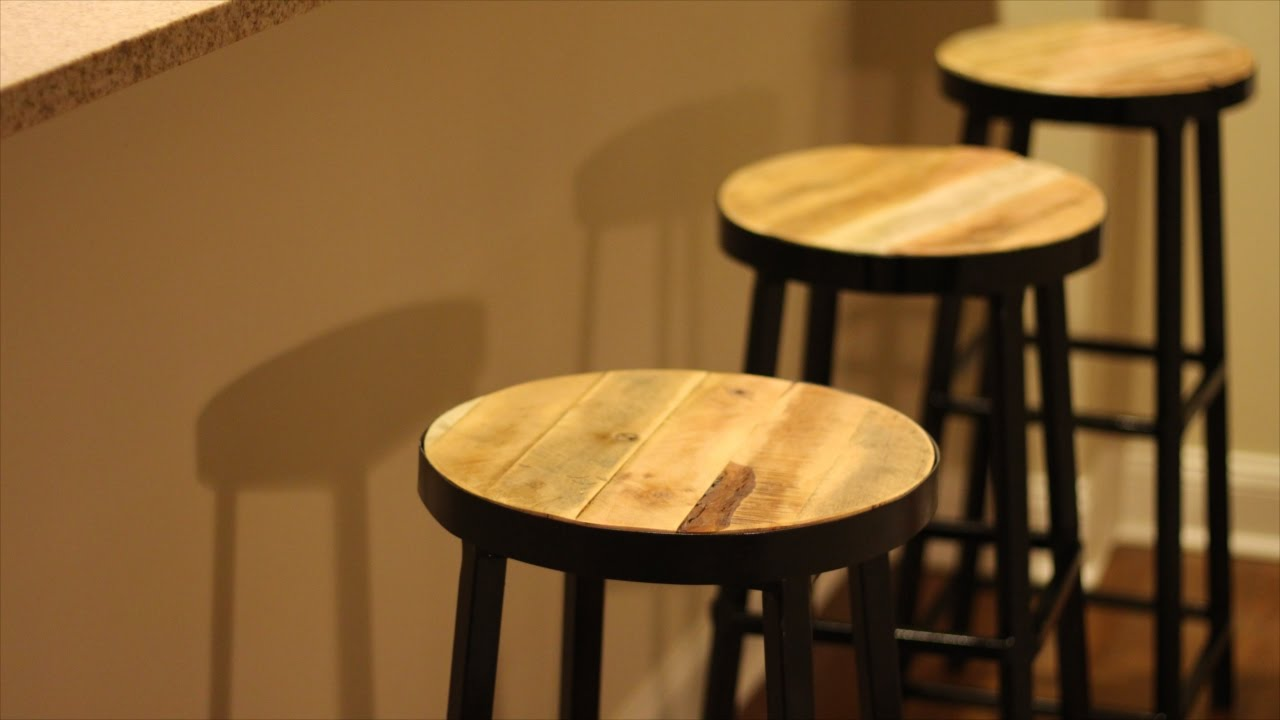 Exceptionnel Steel Bar Stools With Reclaimed Wood Top!   YouTube