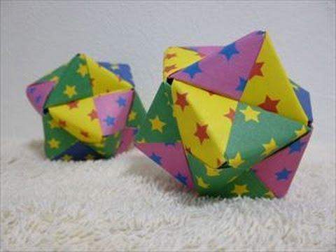 ハンドメイドユニット折り紙12枚で作る24面体のくす玉折り方・作り方 How to make a 24tetrahedral unit origami